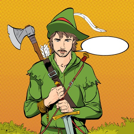 Robin Hood in a hat with feather.