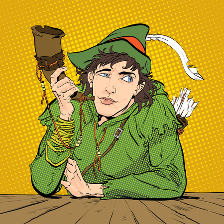 Robin Hood in a hat with feather and a horn. Doubting Robin Hood Defender of weak. Medieval legends. Heroes of medieval legends. Halftone background. Illustration