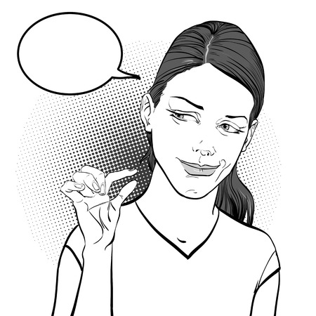Woman laughing and showing a fingers meaning small size.