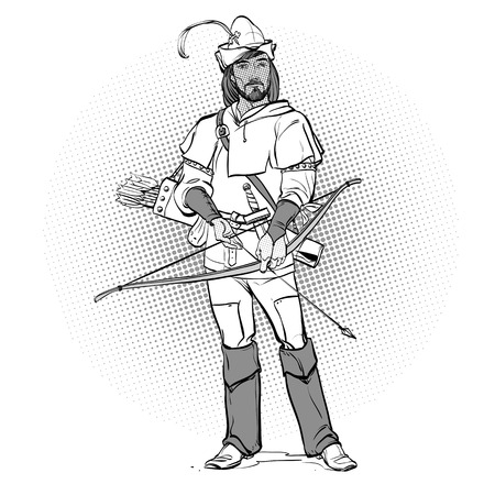 Robin Hood in a hat with feather. Defender of weak. Medieval legends. Heroes of medieval legends. Halftone background.