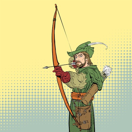 Robin Hood aiming on target. Robin Hood standing with bow and arrows. Robin Hood in a hat with feather. Young soldier. Noble robber. Defender of weak. Medieval legends. Heroes of medieval legends.