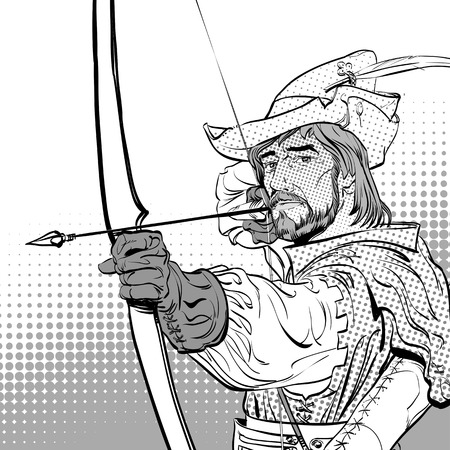 Robin Hood aiming on target. Robin Hood standing with bow and arrows. Defender of weak. Medieval legends. Heroes of medieval legends. Halftone background. Illustration