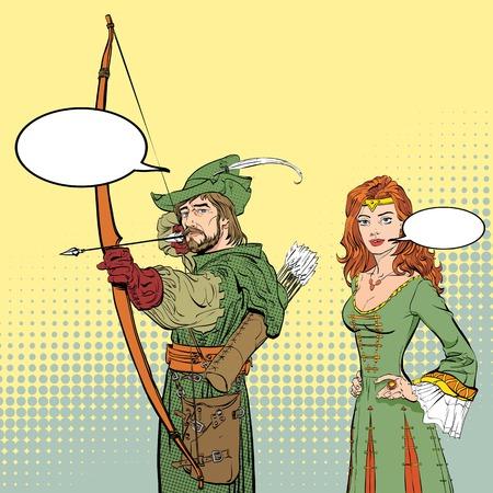 Robin Hood aiming on target. Young soldier. Defender of weak. Medieval legends. Lady in medieval dress. Beloved woman of Robin Hood. White lady of forrests. Illustration