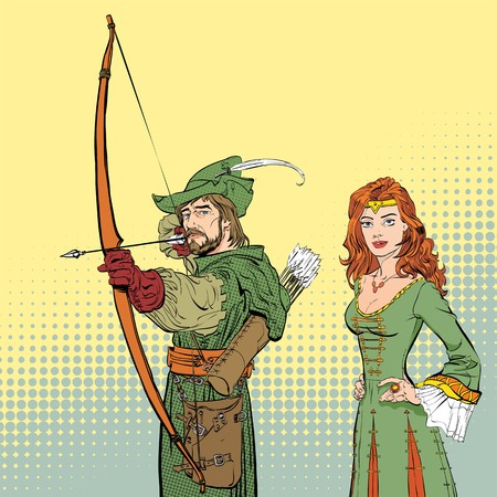 Robin Hood aiming on target. Young soldier. Defender of weak. Medieval legends. Lady in medieval dress. Beloved woman of Robin Hood. White lady of forrests. Illustration