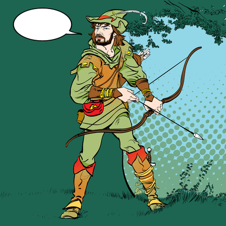 Robin Hood standing with bow and arrows. Robin Hood in a hat with feather. Young soldier. Noble robber. Defender of weak. Medieval legends. Heroes of medieval legends. Vettoriali
