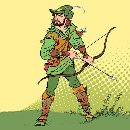 Robin Hood stojący z łukiem i strzałami. Robin Hood w kapeluszu z piórkiem. Młody żołnierz. Szlachetny złodziej. Obrońca słabych. Średniowieczne legendy. Bohaterowie legend średniowiecznych.