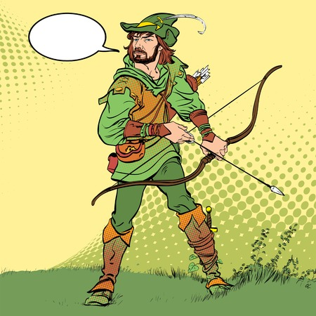 Robin Hood standing with bow and arrows. Robin Hood in ambush. Defender of weak. Medieval legends.