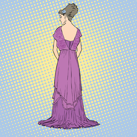 The sketch with the young graceful model. Back view of the dress. Long evening gown with open back. Elegante slenderness. Romantic image. Skinny body silhouette. Haute couture fashion show. Illustration