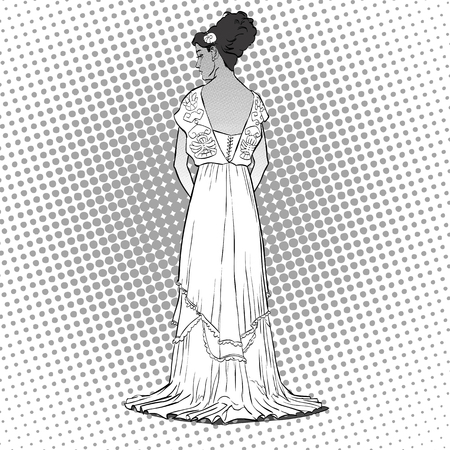 Sketch with the young graceful model, back view of the dress. Long evening gown with open back elegant slenderness, romantic image skinny body silhouette, haute couture fashion show. Illustration