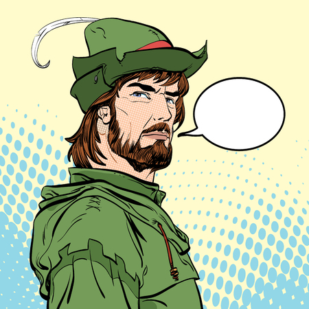 Robin Hood. Robin Hood in a hat with feather. Young soldier. Noble robber. Defender of weak. Medieval legends. Heroes of medieval legends.