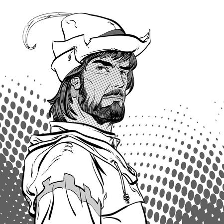 Robin Hood. Defender of weak. Medieval legends. Heroes of medieval legends. Halftone background.