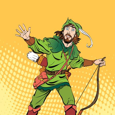 Amazed Robin Hood. Wondering Robin Hood. Medieval legends. Heroes of medieval legends. Halftone background. Ilustracja