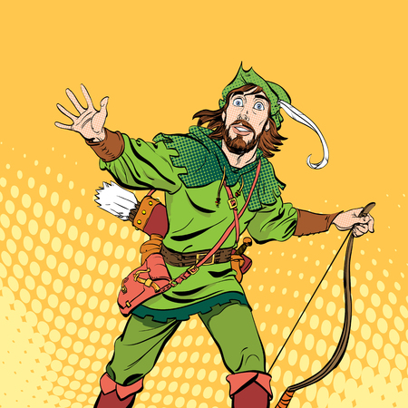 Amazed Robin Hood. Wondering Robin Hood. Medieval legends. Heroes of medieval legends. Halftone background. Vectores