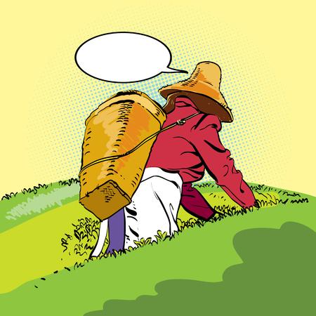 Theeplantage. De oogst. Chinese boer. Boeren in strohoed silhouet set