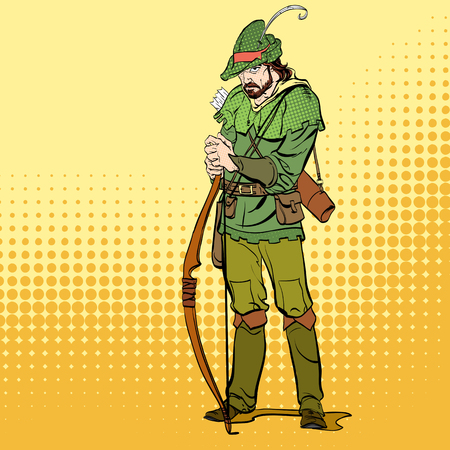 Robin Hood standing with bow and arrows. Robin Hood in a hat with feather. Young soldier. Noble robber. Defender of weak. Medieval legends. Heroes of medieval legends. Vectores