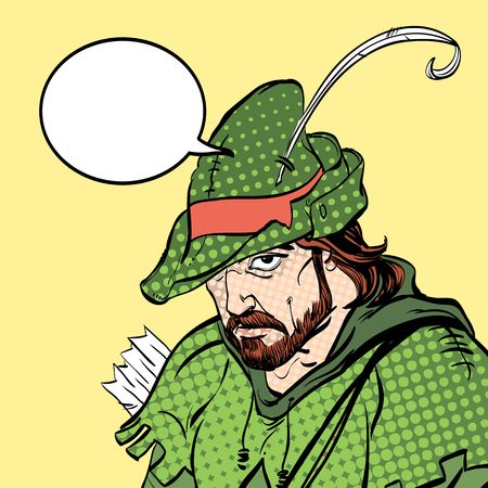Robin Hood portrait. Robin Hood in a hat with feather. Young soldier. Noble robber. Defender of weak. Medieval legends. Heroes of medieval legends.