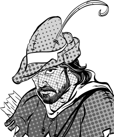Robin Hood portrait. Defender of weak. Medieval legends. Heroes of medieval legends. Halftone background. Stock Illustratie