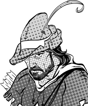 Robin Hood portrait. Defender of weak. Medieval legends. Heroes of medieval legends. Halftone background. Illustration