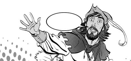 Amazed Robin Hood. Wondering Robin Hood. Medieval legends. Heroes of medieval legends. Halftone background. Illustration