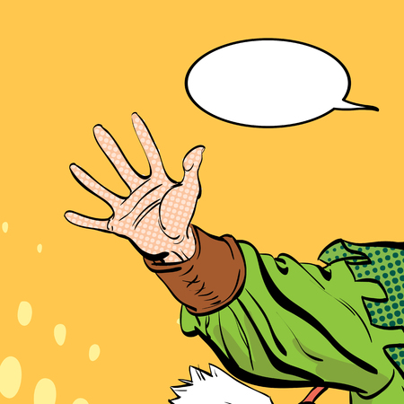 Man's hand holding out for something. Man demanding something. Man inquiring for something. Man's hand. Reaching out. Requiring something. Concept idea of advertisement. Halftone background