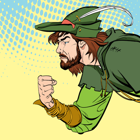 Robin Hood with a fist. Defender of weak. Medieval legends. Heroes of medieval legends. Halftone background.