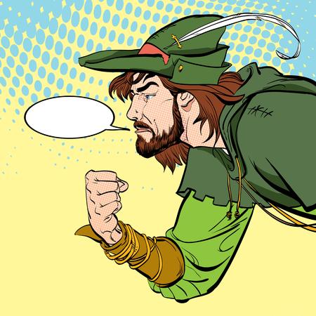 Robin Hood with a fist. Defender of weak. Medieval legends. Heroes of medieval legends. Halftone background.
