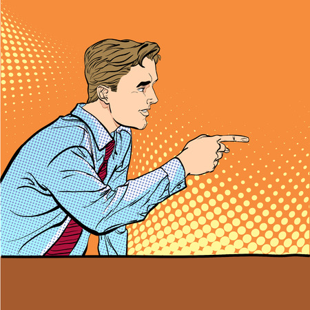 A man pointing a finger. Illustration