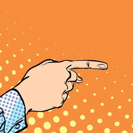 A male hand with forefinger. A man pointing a finger. A man explaining something. Businessman giving advice. Concept idea of advertisement and promo.