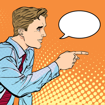 A man pointing a finger. A man explaining something. Speaking man. The man at the podium speaks. Illustration
