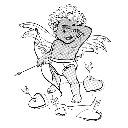 Funny little cupid aiming at someone. Valentines Day
