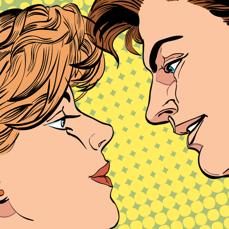 Lovers couple kissing, Romantic kiss. Romance valentines day illustration. Happy Valentines day.