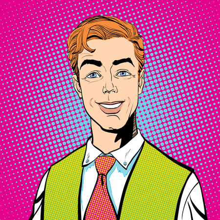 Smiling man. Happy business man. Young successful businessman cartoon.