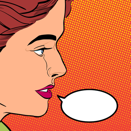A young woman looking questioningly. Elegant lady. Concept idea of advertisement and promo. Pop art retro style illustration, halftone background.