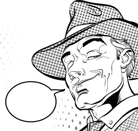 Happy cowboy. Cartoon character. Wild west Halftone background Vectores