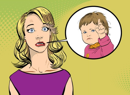Woman and child. Girl and strict child. Surprised woman and child. Surprised girl and child.
