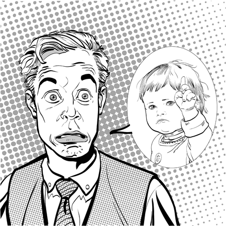 Surprised man. Man and child. Man and strict child. Surprised man and child.