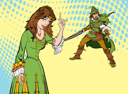 Lady and a man in medieval dress.