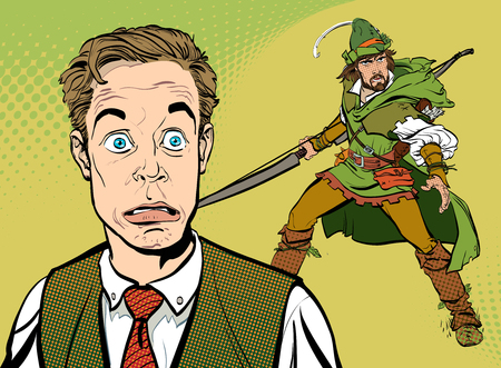 Concept idea of Businessman Dreaming to be Robin Hood.