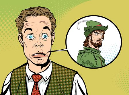 Businessman dreaming to be Robin Hood illustration.