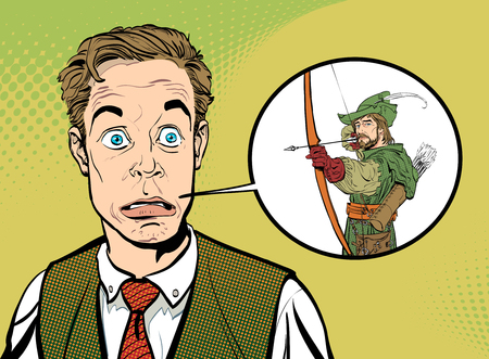 Businessman dreaming to be Robin Hood illustration.