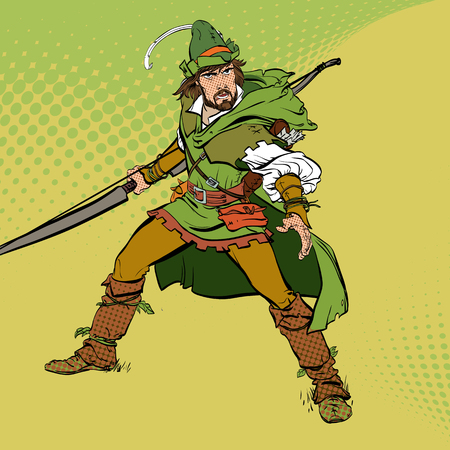 Robin Hood standing with bow and arrows. Robin Hood in ambush. Defender of weak. Medieval legends. Heroes of medieval legends. Halftone background. Vettoriali