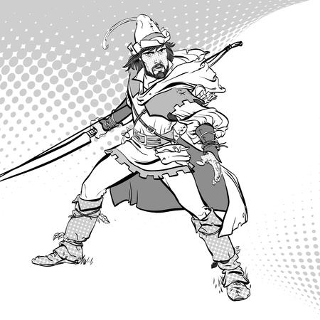 Robin Hood standing with bow and arrows. Robin Hood in ambush. Defender of weak. Medieval legends. Heroes of medieval legends.
