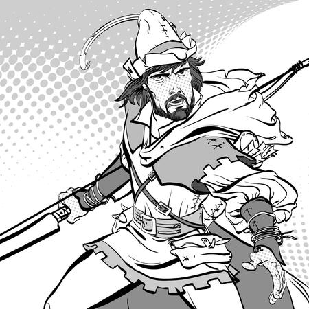 Robin Hood standing with bow and arrows. Robin Hood in ambush. Defender of weak. Medieval legends. Heroes of medieval legends. Halftone background. Illustration