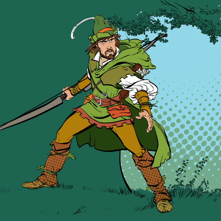 Robin Hood standing with bow and arrows. Robin Hood in ambush.