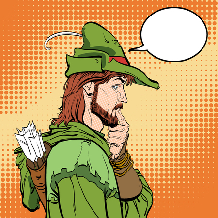Surprised Robin Hood vector illustration with speech bubble