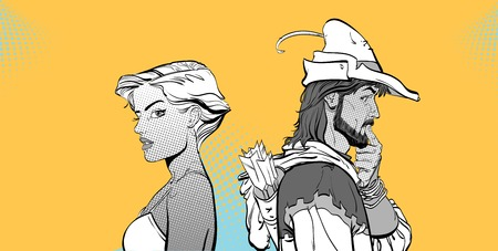 Modern girl and Medieval legend vector illustration