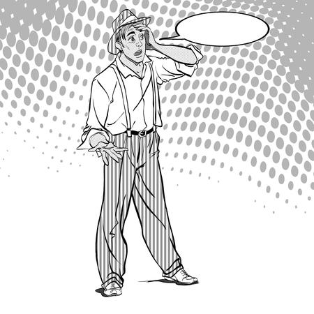Portrait of surprised guy in Pop art retro style illustration. Illustration