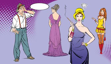 Un homme fait face à un choix ou à une décision difficile de choisir une femme. Illustration de style rétro pop art. Banque d'images - 95904991