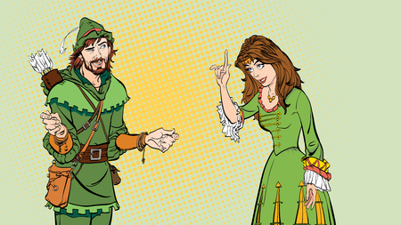 Man and woman, princess teaching Robin Hood. Lady in medieval dress and Robin Hood. 矢量图像