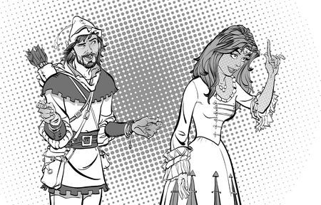 Man and woman, princess teaching Robin Hood. Lady in medieval dress and Robin Hood. 向量圖像